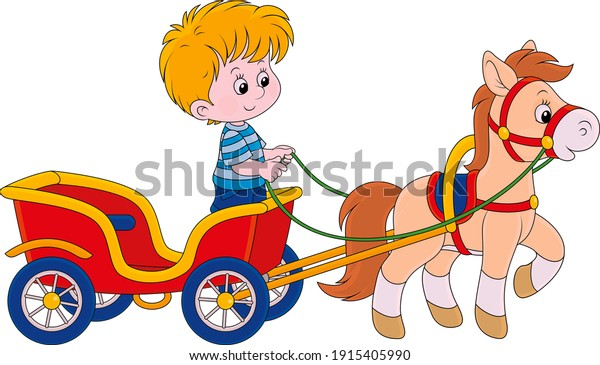 A magnificent illustration of a car, horse and child.