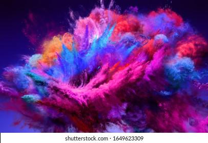 Großartige große Explosion von blauem und rosafarbenem Pulver. Die Bewegung des Farbpulvers wird eingefroren. 3D-Illustration