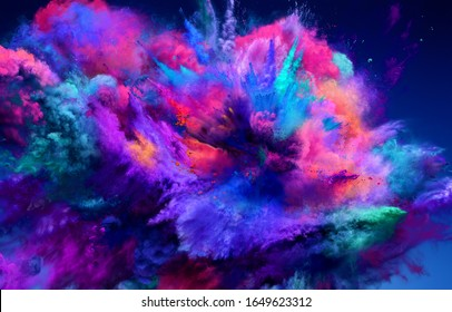 Großartige große Explosion von rosa und blauem Pulver. Die Bewegung des Farbpulvers wird eingefroren. 3D-Illustration