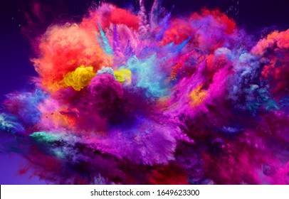 Magnificent large explosion of pink, red and blue powder. Freeze motion of color powder exploding. 3D illustration