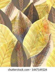 Magnificent multi-colored autumn pattern of gold leaves and brown  shades. Template for design fabric, wallpaper, site, poster or postcard.