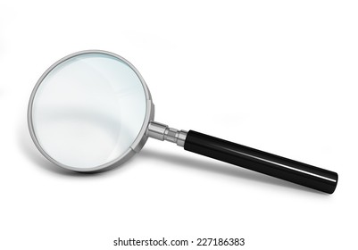 Magnifier. 3D image. On a white background.