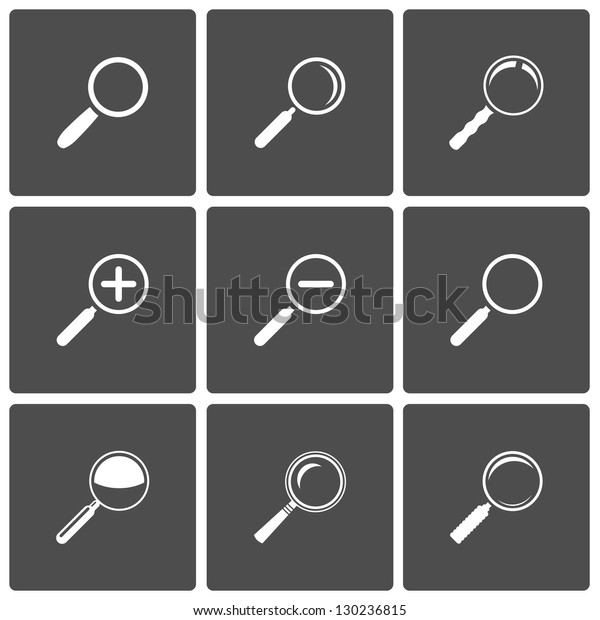 Magnifier Glass and Zoom Icons: search find lupe