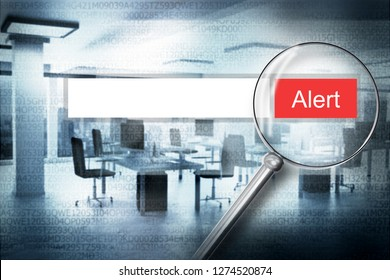 magnifier scan web search bar alert button with modern office background 3D Illustration