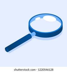 Magnify glass icon. Isometric of magnify glass icon for web design isolated