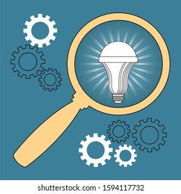 A magnifying glass aimed at an economical LED lamp. Motivating poster about the economical use of energy resources