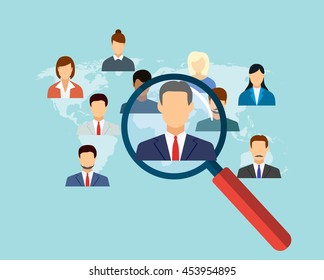 magnifying glass for choosing the right person on word map for international best position. recruitment and job search concept. illustration in flat design Raster version
