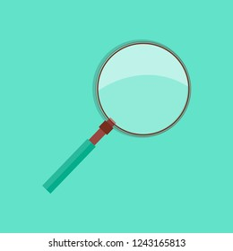 Magnifying glass consisting of lens mounted in frame with handle isolated raster illustration on azure background. This tool can be used to start fire
