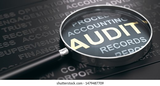 Magnifying glass with focus on the word audit written in golden letters and other accounting words over black background. 3D illustration.