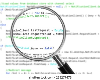 Magnifying Glass focused on source code