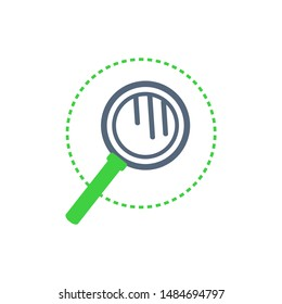 Magnifying glass with handle, examination tool with lens to see closer raster. Enlarging details and magnification of items. Search icon and zoom