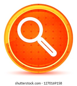 Magnifying glass icon isolated on natural orange round button