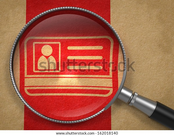 Magnifying Glass with ID Card Icon on Old Paper with Red Vertical Line Background. Identification Concept.