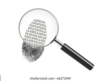Magnifying glass looking at a fingerprint and showing binary code