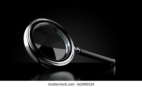 Magnifying glass on black background. 3d illustration