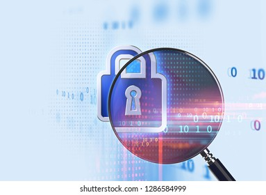 Magnifying glass on Closed Padlock  with digital data background represent GDPR .The General Data  Protection Regulation. Cyber security and personal data privacy.3d illustration