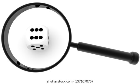 Magnifying glass on dice in white.3d illustration