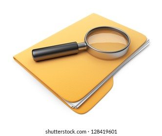 Magnifying glass on folder. Search file. 3D Icon isolated