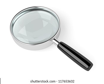A magnifying glass on white background. Computer generated image with clipping path.