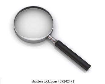 Magnifying glass on white background with reflection