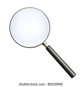 Magnifying glass on white. Clipping path included. 3d render