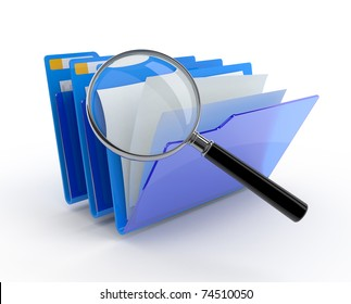 Magnifying glass over the blue folders. 3d illustration.