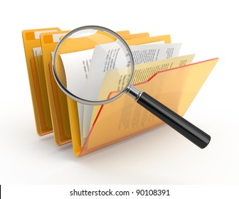 Magnifying glass over the yellow folders. 3d illustration.