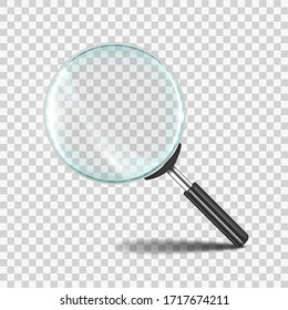 Magnifying glass. Realistic zoom lens icon with transparent glass, research loupe 3D concept.  magnifier zoom search tool symbol