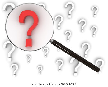Magnifying glass searches amongst many question marks, finding the one that stands out