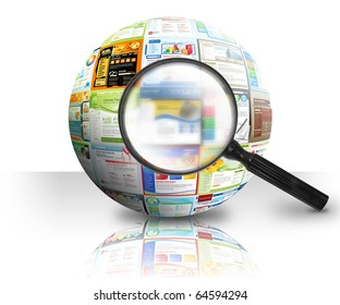 A magnifying Glass is searching the internet and there are different website templates in a 3D Ball on a white background. Use it for a research or optimization concept.