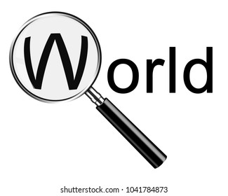 Magnifying glass searching world