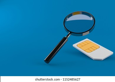 Magnifying glass with sim card isolated on blue background. 3d illustration