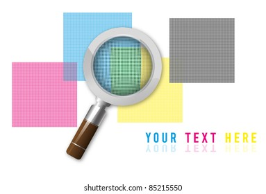 magnifying lens on screened cymk squares