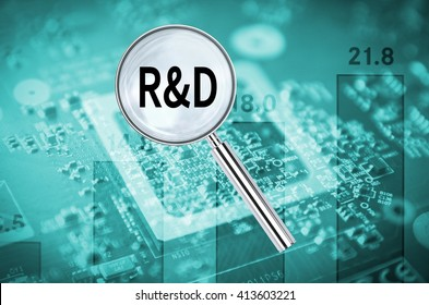 Magnifying lens over background with text R&D, with the graphics card visible in the background. 3D rendering.