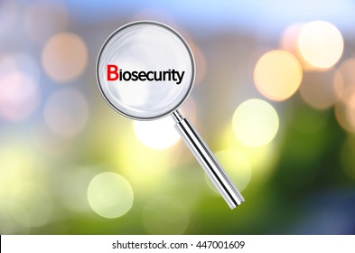Magnifying lens over background with text Biosecurity, with the blurred lights visible in the background. 3D rendering.