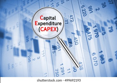 Magnifying lens over background with text Capital expenditures (CAPEX), with the financial data visible in the background. 3D rendering.