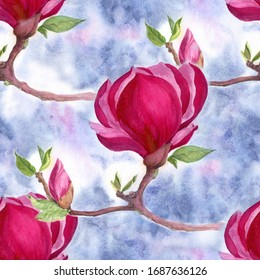 Magnolia - flowers and buds on a branch.Watercolor.Seamless pattern. The branches are blooming. Use printed materials, signs, objects, websites, maps. Abstract wallpaper with floral motifs.