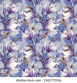 Magnolia Flowers Seamless Pattern.