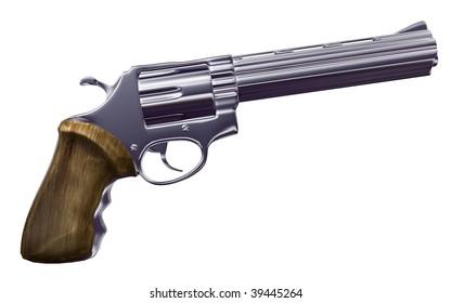 magnum revolver isolated white