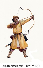 Magyar (hungarian) archer at the Battle of Lechfeld. Medieval soldier illustration.