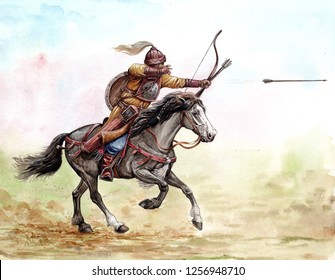 Magyar (hungarian) mounted archer at the Battle of Lechfeld, 955.