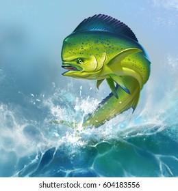 Mahi mahi or dolphin fish on background. Big fish on the background of large waves.