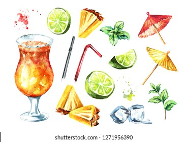 Mai Tai Cocktail with decorative elements set. Watercolor hand drawn illustration  isolated on white background