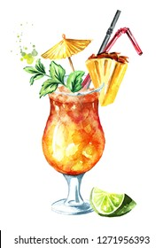Mai Tai Cocktail with Pineapple, mint, lime and Rum. Watercolor hand drawn illustration  isolated on white background