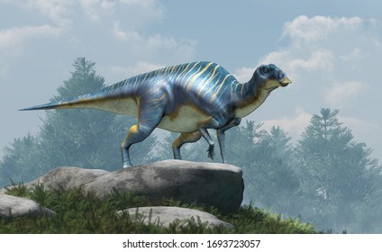 Maiasaura, a hadrosaur, on boulders atop a hill. This duck billed dinosaur, now extinct, was an herbivore that lived during the cretaceous period. 3D Rendering.