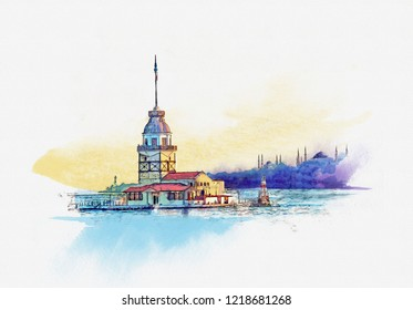 Maiden tower at dawn in Istanbul, Turkey. Watercolor sketch