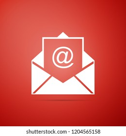Mail and e-mail icon isolated on red background. Envelope symbol e-mail. Email message sign. Flat design