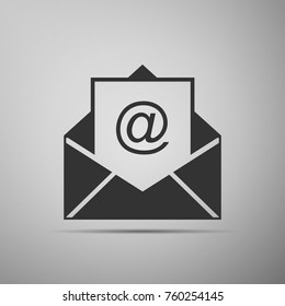 Mail and e-mail icon isolated on grey background. Envelope symbol e-mail. Email message sign. Flat design