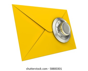 Mail security concept. Mail icon with combination lock.
