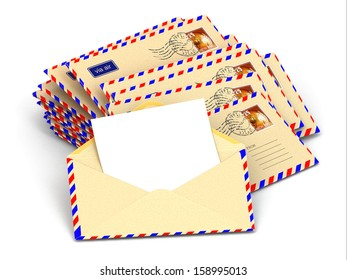 Mail. Stack of envelopes and empty letters. 3d